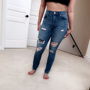 Express Distressed High Waist Denim Jeans - Sz 2-4